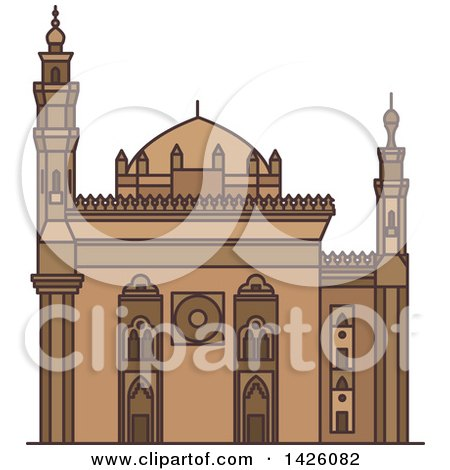 Clipart of a Line Drawing Styled Egyptian Landmark, Mosque-Madrassa of Sultan Hassan - Royalty Free Vector Illustration by Vector Tradition SM