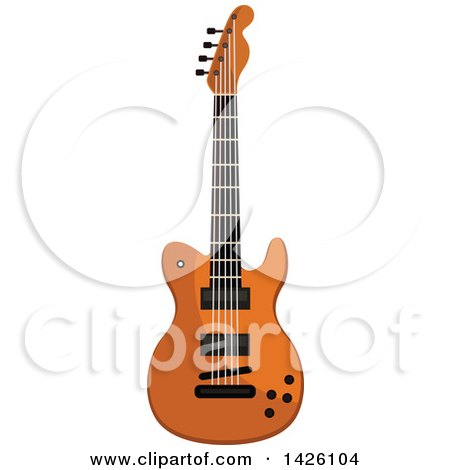 Clipart of a Brown Electric Guitar - Royalty Free Vector Illustration by Vector Tradition SM