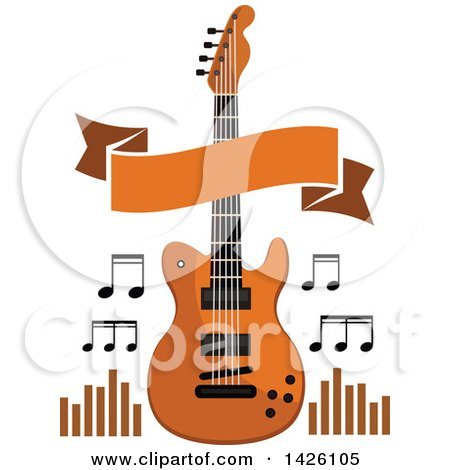 Clipart of a Brown Electric Guitar with Music Notes, a Banner and Equalizers - Royalty Free Vector Illustration by Vector Tradition SM
