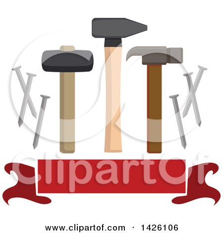 Clipart of a Hammer, Mallet, Nail Puller, Metal Nails over a Blank Banner - Royalty Free Vector Illustration by Vector Tradition SM