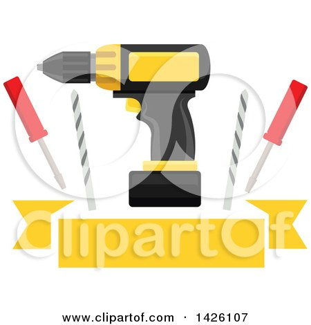 Clipart of a Power Drill, Bits and Screwdrivers over a Yellow Banner - Royalty Free Vector Illustration by Vector Tradition SM