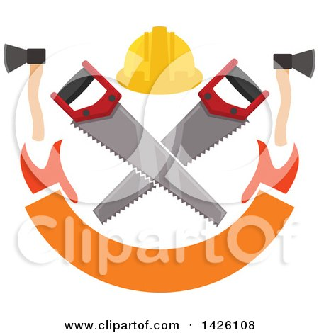 Clipart of a Hard Hat over Crossed Saws, with Hatchets over a Banner - Royalty Free Vector Illustration by Vector Tradition SM