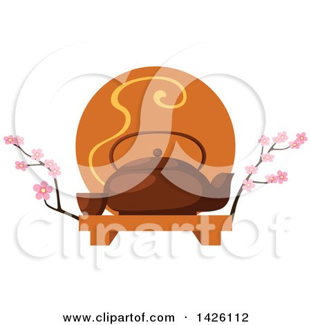 Clipart of a Japanese Ta Pot with a Cup on a Tray, with Cherry Blossom Branches - Royalty Free Vector Illustration by Vector Tradition SM