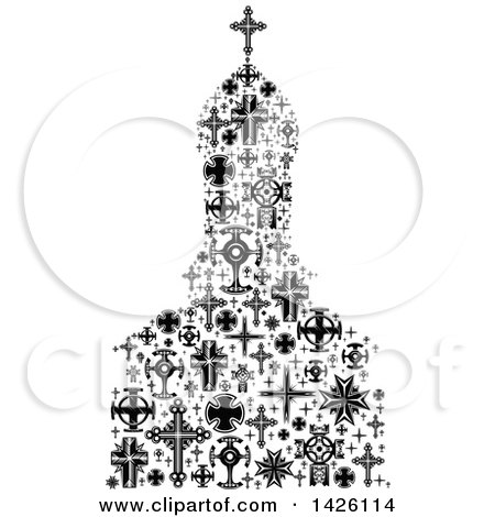 Clipart of a Church Formed of Black and White Crosses - Royalty Free Vector Illustration by Vector Tradition SM
