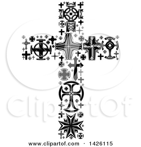 Clipart of a Crucifix Formed of Black and White Crosses - Royalty Free Vector Illustration by Vector Tradition SM