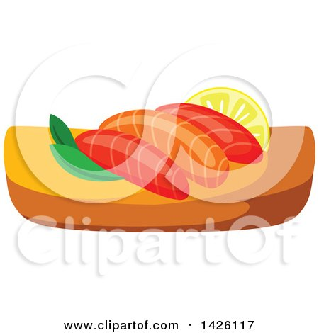 Clipart of a Serving of Salmon Sushi - Royalty Free Vector Illustration by Vector Tradition SM