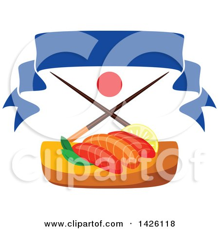 Clipart of a Serving of Salmon Sushi with Chopsticks, Japanese Flag and Banner - Royalty Free Vector Illustration by Vector Tradition SM