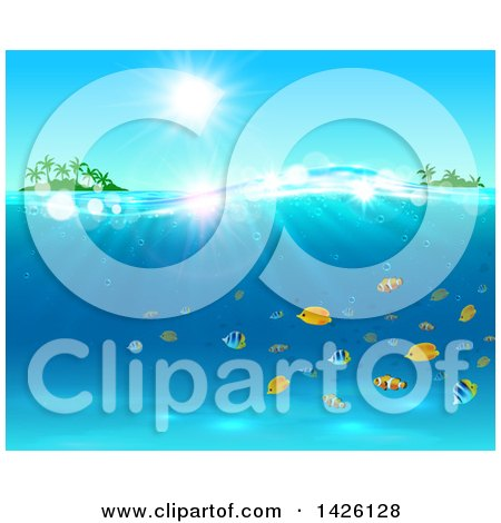 Clipart of a Sun Shining over Tropical Islands and the Ocean with Marine Fish - Royalty Free Vector Illustration by Vector Tradition SM