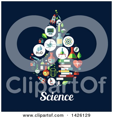 Clipart of a Flat Design Water Drop Formed of Icons over Science Text on Blue - Royalty Free Vector Illustration by Vector Tradition SM