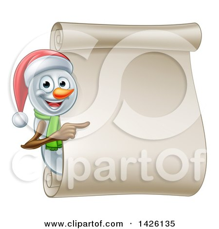 Clipart of a Christmas Snowman Wearing a Santa Hat and Pointing Around a Blank Scroll - Royalty Free Vector Illustration by AtStockIllustration