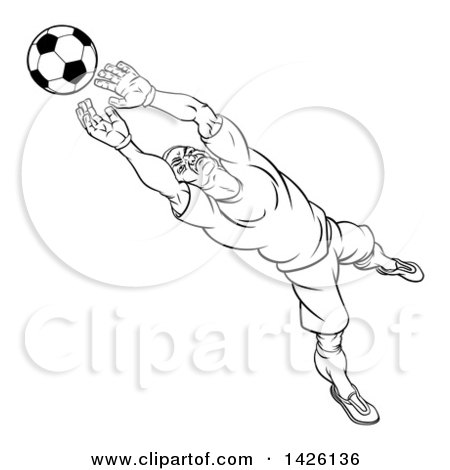 Clipart of a Black and White Lineart Cartoon Soccer Player Goal Keeper Catching the Ball - Royalty Free Vector Illustration by AtStockIllustration
