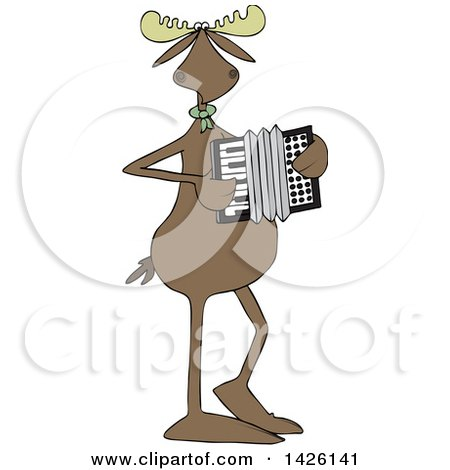 Clipart of a Cartoon Musician Moose Playing an Accordion - Royalty Free Vector Illustration by djart
