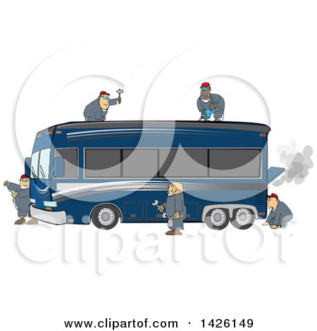 Clipart of a Team of Male Mechanics Repairing a Broken down and Smoking Luxurious Blue Bus Conversion Rv Motorhome - Royalty Free Vector Illustration by djart