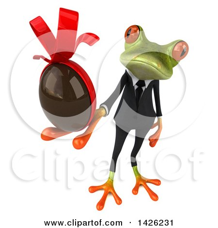 Clipart of a 3d Green Business Springer Frog, on a White Background - Royalty Free Illustration by Julos