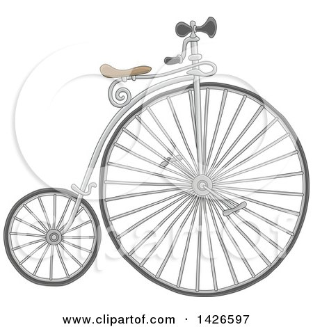 Clipart of a Cartoon Penny Farthing Bicycle - Royalty Free Vector Illustration by Alex Bannykh