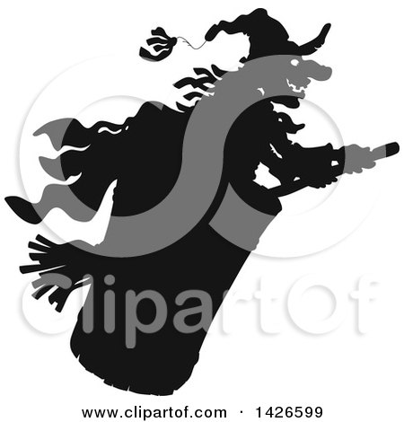 Clipart of a Black and White Silhouetted Halloween Witch Flying - Royalty Free Vector Illustration by Alex Bannykh