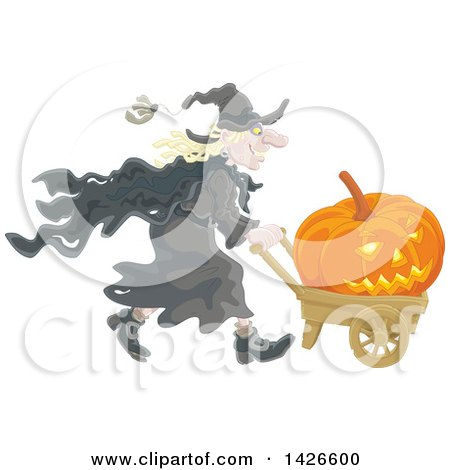 Clipart of a Halloween Witch Pushing a Jackolantern in a Wagon - Royalty Free Vector Illustration by Alex Bannykh