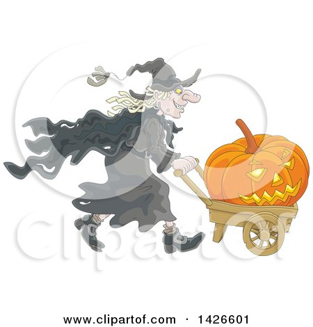 Clipart of a Cartoon Halloween Witch Pushing a Jackolantern Pumpkin in a Wagon - Royalty Free Vector Illustration by Alex Bannykh