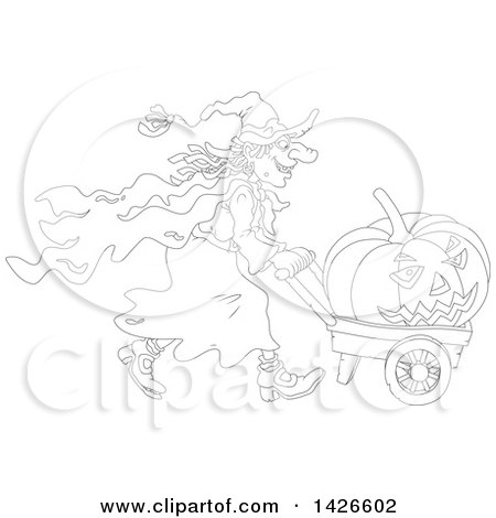 Clipart of a Black and White Lineart Halloween Witch Pushing a Jackolantern in a Wagon - Royalty Free Vector Illustration by Alex Bannykh