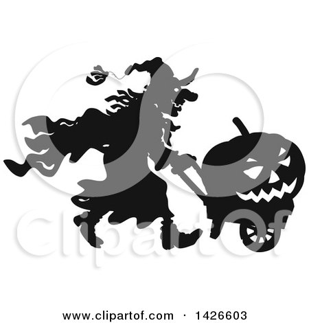 Clipart of a Black and White Silhouetted Halloween Witch Pushing a Jackolantern in a Wagon - Royalty Free Vector Illustration by Alex Bannykh