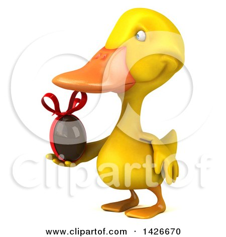 Clipart of a 3d Yellow Duck, on a White Background - Royalty Free Vector Illustration by Julos