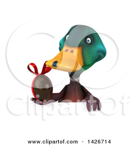 Clipart of a 3d Mallard Drake Duck, on a White Background - Royalty Free Vector Illustration by Julos