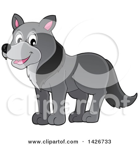 Clipart of a Cartoon Gray Wolf - Royalty Free Vector Illustration by visekart