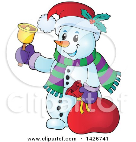Clipart of a Festive Christmas Snowman Ringing a Bell and Holding a Sack - Royalty Free Vector Illustration by visekart