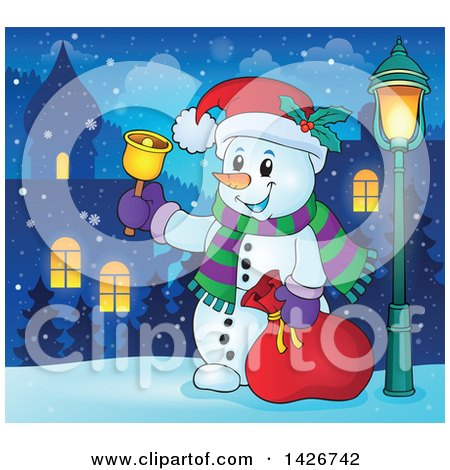Clipart of a Festive Christmas Snowman Ringing a Bell and Holding a Sack in a Village at Night - Royalty Free Vector Illustration by visekart