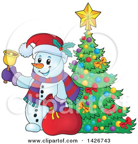 Clipart of a Festive Christmas Snowman Ringing a Bell and Holding a Sack by a Christmas Tree - Royalty Free Vector Illustration by visekart