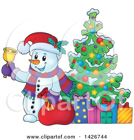 Clipart of a Festive Snowman Ringing a Bell and Holding a Sack by a Christmas Tree with Gifts - Royalty Free Vector Illustration by visekart