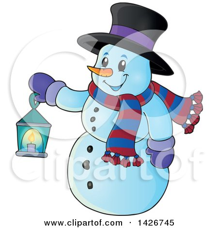 Clipart of a Snowman Holding a Lantern - Royalty Free Vector Illustration by visekart