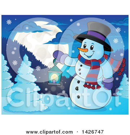 Clipart of a Snowman Holding a Lantern in the Woods Under a Full Moon - Royalty Free Vector Illustration by visekart