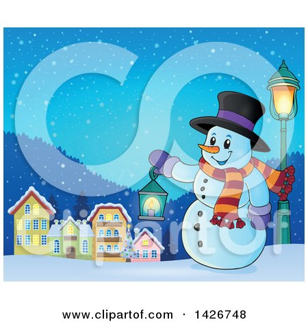 Clipart of a Snowman Holding a Lantern in a Village at Night - Royalty Free Vector Illustration by visekart