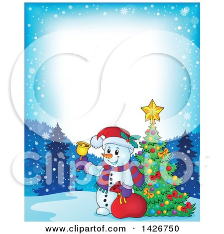 Clipart of a Festive Border of a Snowman Ringing a Bell and Holding a Sack by a Christmas Tree - Royalty Free Vector Illustration by visekart