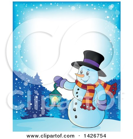 Clipart of a Border of a Snowman Holding a Lantern in the Woods - Royalty Free Vector Illustration by visekart
