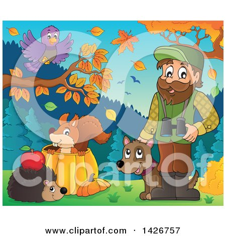 Clipart of a Happy Male Forester with Animals, Binoculars and a Dog in an Autumn Landscape - Royalty Free Vector Illustration by visekart