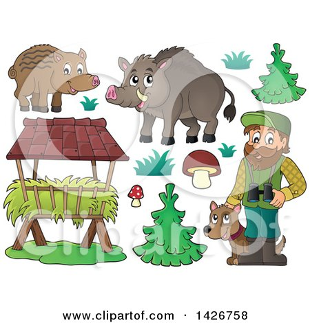 Clipart of a Male Forest Worker with a Dog, Boars, Trough, Trees, Grass and Mushrooms - Royalty Free Vector Illustration by visekart