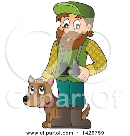 Clipart of a Happy Male Forester with Binoculars and a Dog - Royalty Free Vector Illustration by visekart