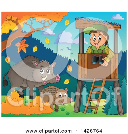 Clipart of a Happy Male Forester in a Lookout, Watching Boars on a Fall Day - Royalty Free Vector Illustration by visekart