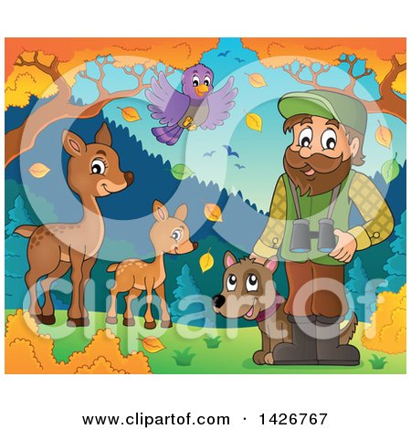 Clipart of a Happy Male Forester with Wild Life, Binoculars and a Dog in an Autumn Landscape - Royalty Free Vector Illustration by visekart
