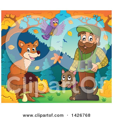 Clipart of a Happy Male Forester with a Bird and Fox, Binoculars and a Dog in an Autumn Landscape - Royalty Free Vector Illustration by visekart