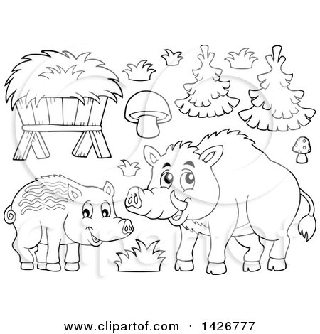 Clipart of a Black and White Lineart Razorback Boar Mother and Piglet - Royalty Free Vector Illustration by visekart