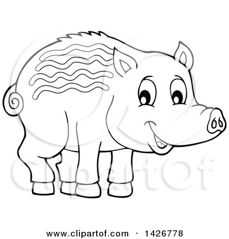 Clipart of a Black and White Lineart Razorback Boar Piglet - Royalty Free Vector Illustration by visekart