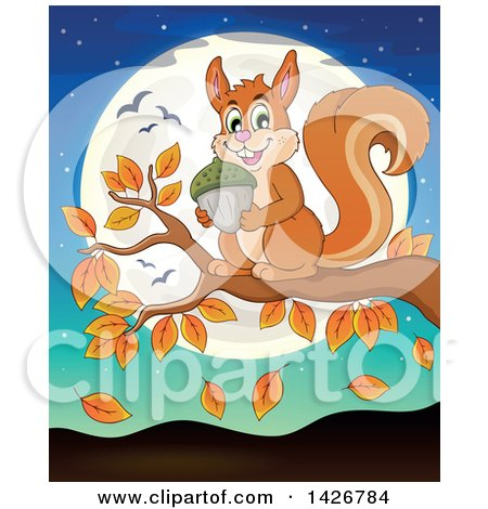 Clipart of a Happy Squirrel Holding an Acorn on an Autumn Branch Against a Full Moon - Royalty Free Vector Illustration by visekart