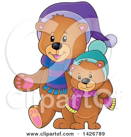 Clipart of Parent and Child Bears Walking and Wearing Winter Accessories - Royalty Free Vector Illustration by visekart