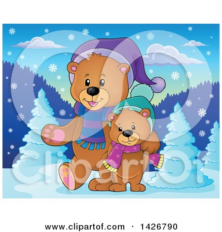 Clipart of Parent and Child Bears Walking and Wearing Winter Accessories in the Woods - Royalty Free Vector Illustration by visekart