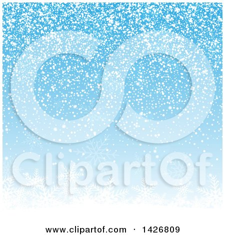 Clipart of a Winter Christmas Background of Falling Snow over Snowflakes on Blue - Royalty Free Vector Illustration by KJ Pargeter