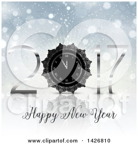 Clipart of a Silver Happy New Year 2017 Clock Design on a Burst and Flares - Royalty Free Vector Illustration by KJ Pargeter