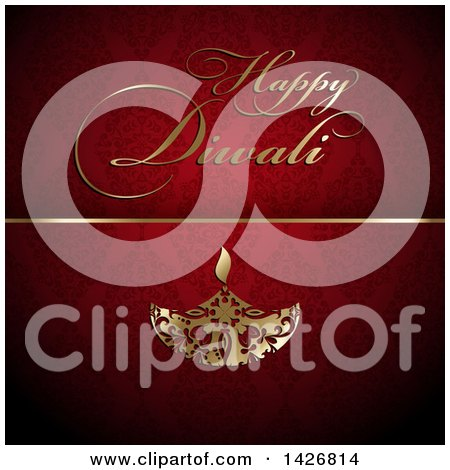 Clipart of Golden Happy Diwali Text and Oil Lamp on Red Damask - Royalty Free Vector Illustration by KJ Pargeter